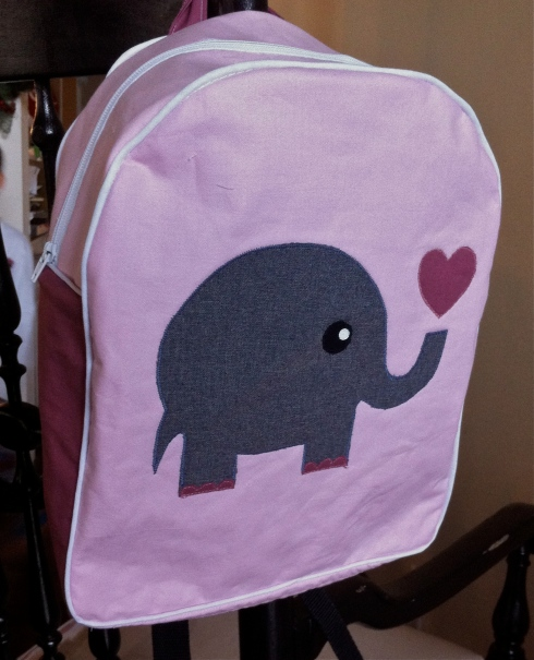 toddler backpack pattern elephant applique