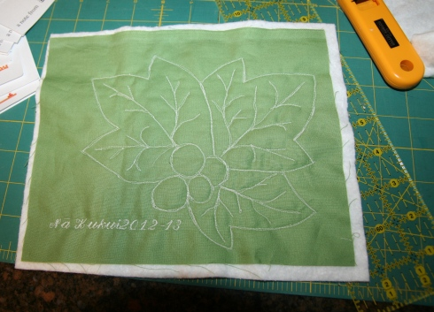 Free motion embroidery Kukui nut